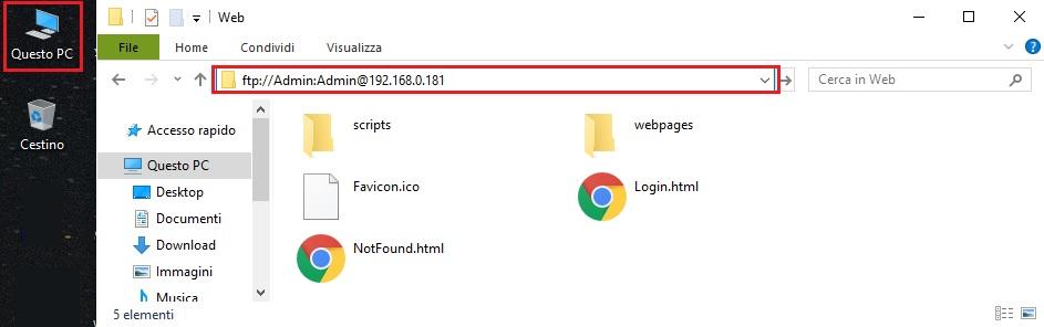 Screenshot accesso FTP da esplora risorse di Windows