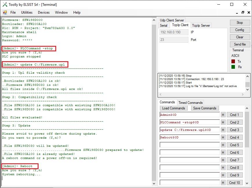 Screenshot Toolly upgrade sistema Cortex M7