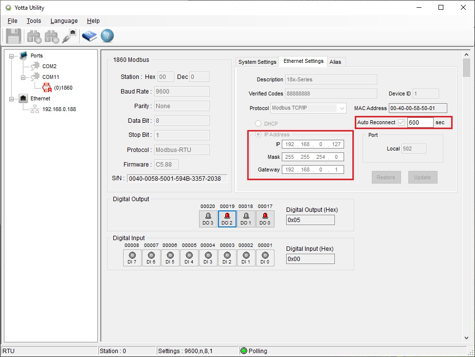 Screenshot Yotta utility (Ethernet settings)