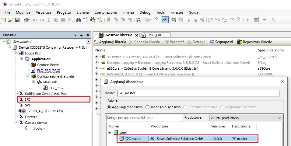 Screenshot aggiungi device I2C a progetto CODESYS
