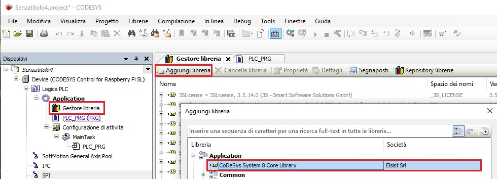 Screenshot aggiungi libreria al progetto CODESYS