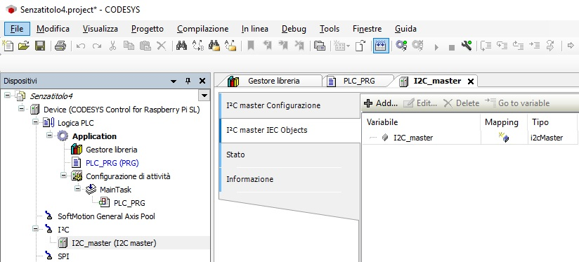 Screenshot proprietà I2C master CODESYS