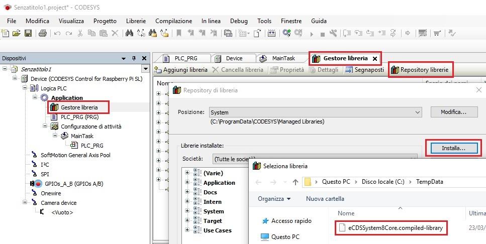 Screenshot installazione libreria eCDSS8CoreMng