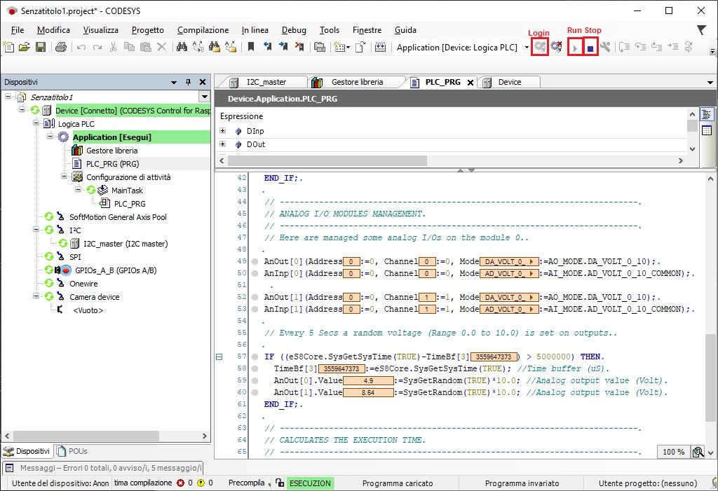 Screenshot esecuzione programma CODESYS