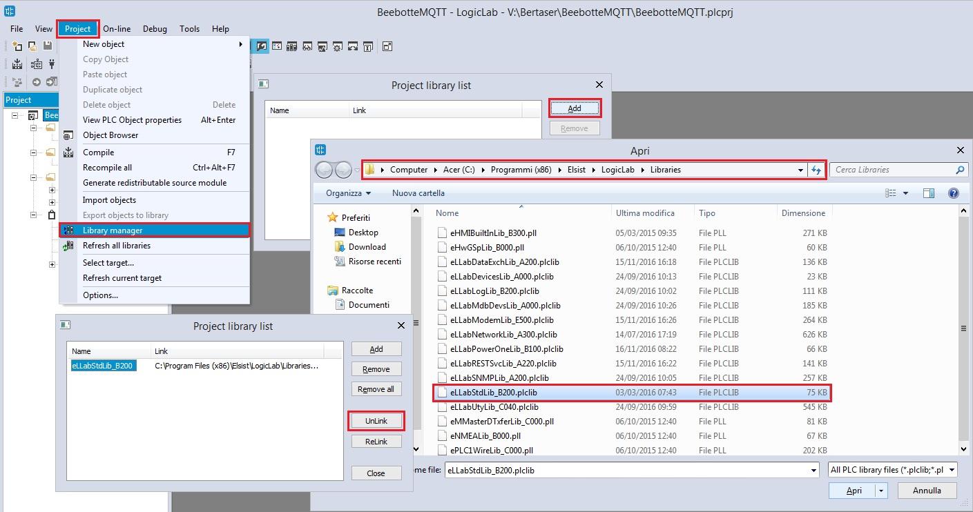 Screenshot gestione librerie LogicLab