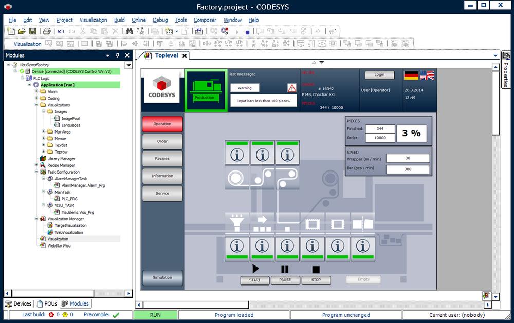 Screenshot esempio WebVisu CODESYS