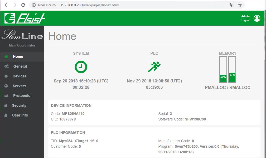 Visualizzazione Home page sistemi Cortex M7