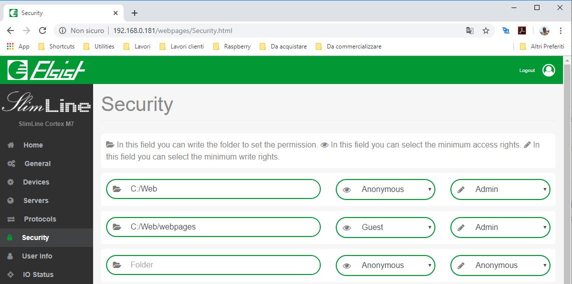 Screenshot pagina web Security su SlimLine
