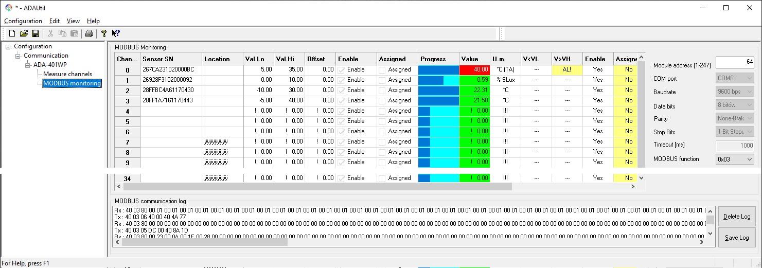 ADAUtil Screenshot monitoraggio Modbus