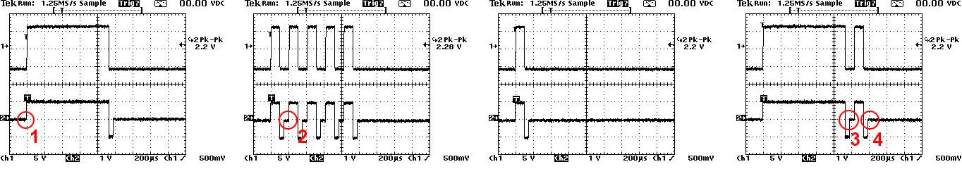 Oscillogramma RS485 commutazione automatica